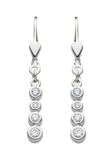 langer 925 Silber Ohrhänger mit Zirkonia besetzt