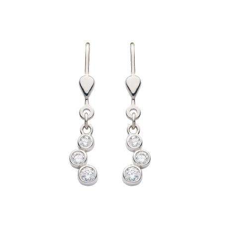925 Silber Ohrhänger mit 3 Zirkonia