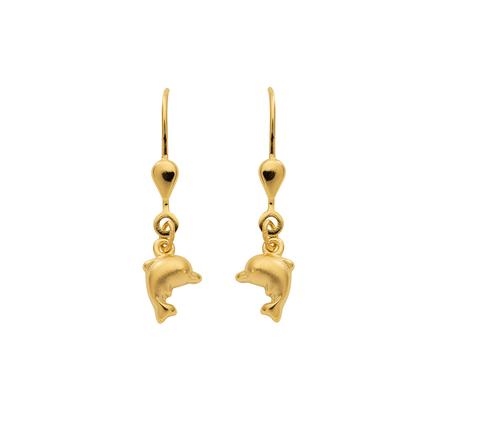 Delphin Ohrhänger mit Brisur in 333 Gelb Gold 17,5 mm