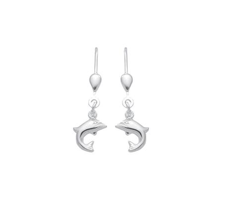 925 Silber Ohrhänger Delphin Motiv