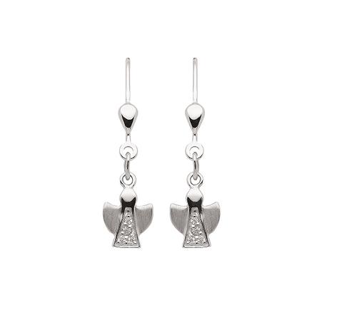 925 Silber Ohrhänger Engel mit Zirkonia matt/glänzend