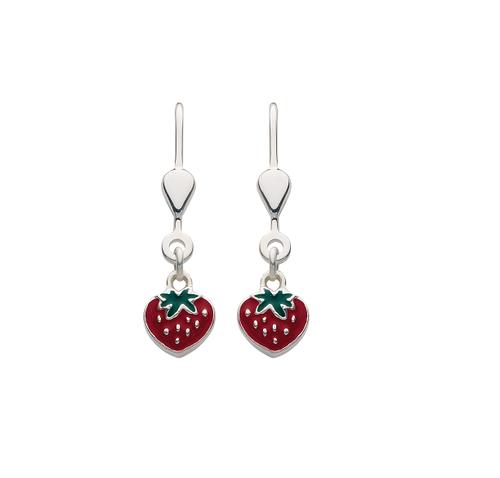 925 Silber Ohrhänger Erdbeere mit Brisur