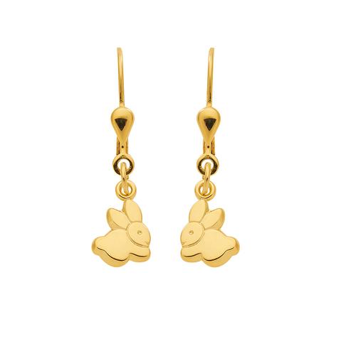 333 Gold Ohrhänger mit zwei niedliche Hasen