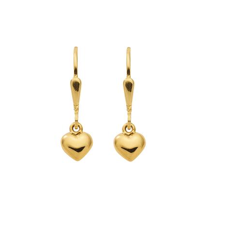 Herz Ohrhänger in 333 Gelb Gold mit Brisur und Zirkonia