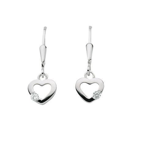 925 Silber Herz Ohrhänger mit Zirkonia