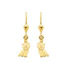 Gold Ohrhänger mit zwei süßen Katzen