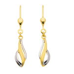 333 Gold rhodiniert bicolor gedrehte Ohrhänger