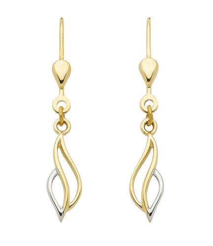 Ohrhänger 333 Gold rhodiniert bicolor gedrehtes Design