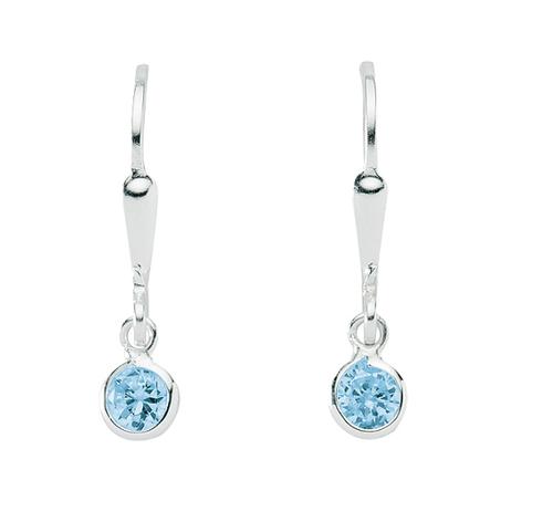 925 Silber Ohrhänger mit farbigen Zirkonia blau