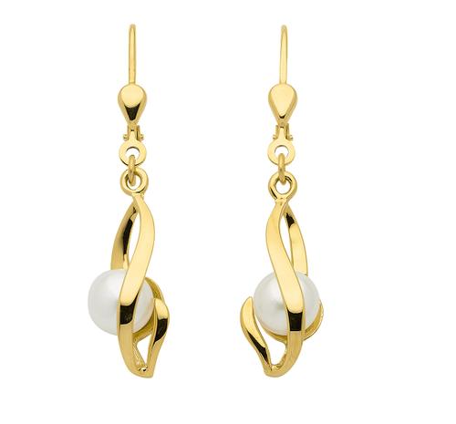 Perlen Ohrhänger in 333 Gold Länge 27 mm