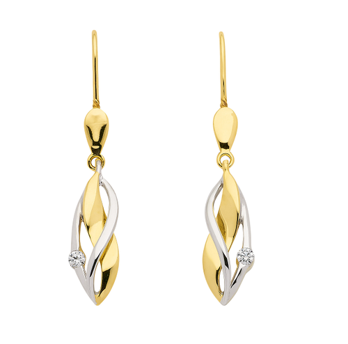Ohrhänger in 333 Gold bicolor gedrehtes Design mit Zirkonia