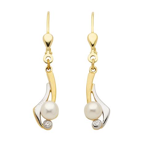 Perlen Ohrhänger 333 Gold bicolor mit Zirkonia