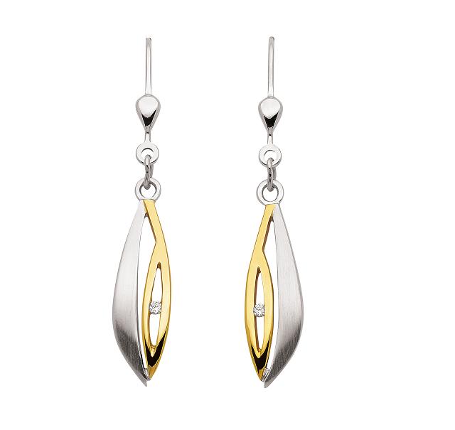 925 Silber Ohrhänger teilvergoldet