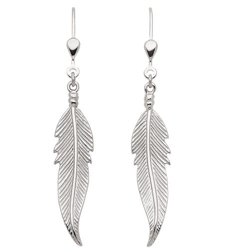 925 Silber Feder Ohrhänger 3 cm lang