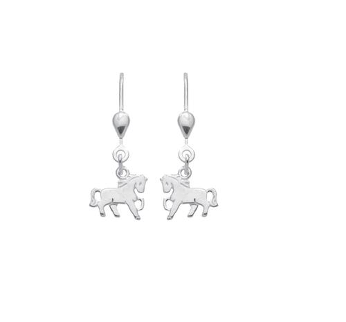 925 Silber Ohrhänger Pferd glänzend