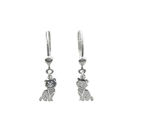 925 Silber Ohrhänger mit zwei süßen Katzen