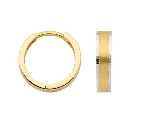 3,7 mm breite 333 Gold Klapp Creolen bicolor