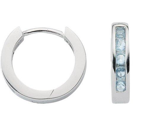 925 Silber Creolen mit blauen Zirkonia 2,9mm breit