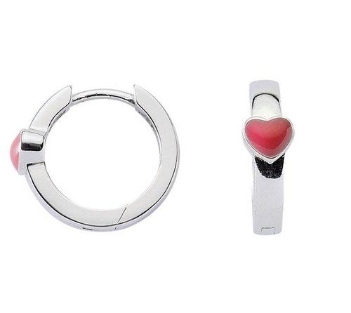 925 Silber Klappcreole mit Herz 14mm Durchmesser