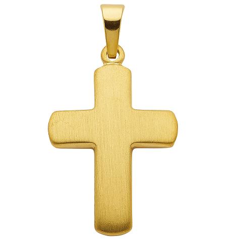 Silber Kreuzanhänger vergoldet matt 19,9 mm Länge