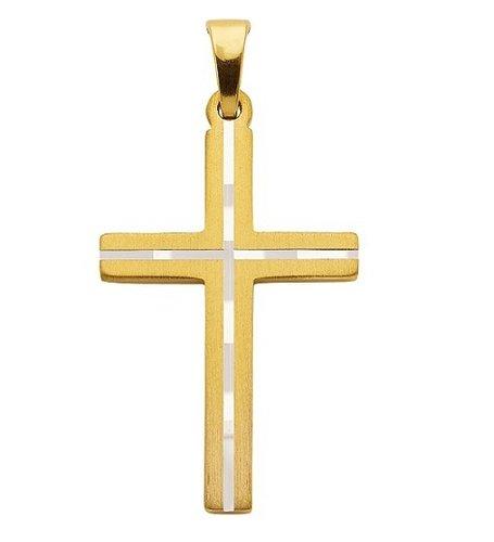 925 Silber Kreuzanhänger vergoldet matt 24,7 mm lang