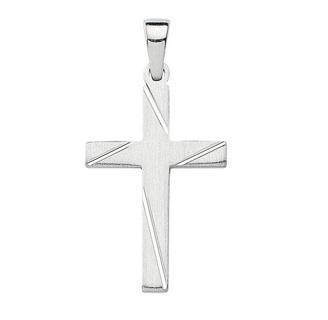 925 Silber Kreuzanhänger mattiert 21,3 mm Länge