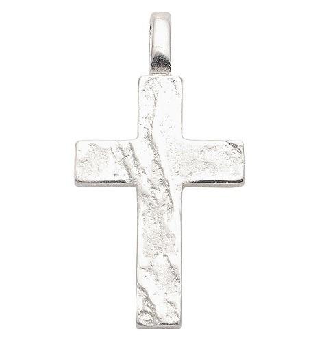 925 Silber Kreuzanhänger gehämmert 23,9 mm Länge