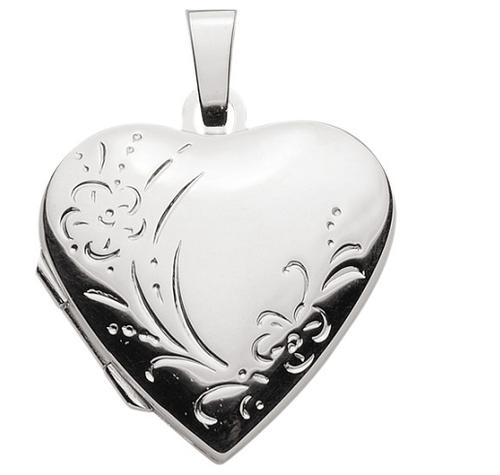 925 Silber Herz Medaillon  Blüten Gravur 20,6 x 20,1