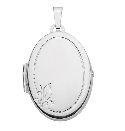 925 Silber Medallion oval mit Blüten Gravur
