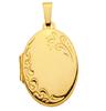 333 Gold Medaillon mit Blüten Muster 23 x 17 mm