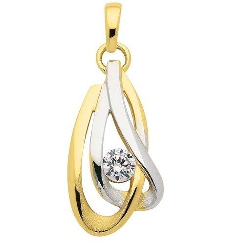 333 Gold rhodinierter Kettenanhänger mit Zirkonia