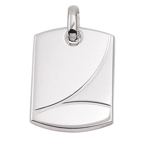 925 Silber schwere Gravurplatte 27,3 x 19,5  mm matt/poliert