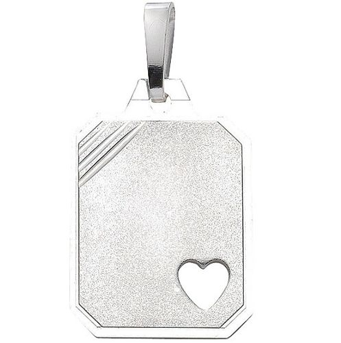 925 Silber Gravurplatte mattiert mit Herz 18,5 x 15,1 mm