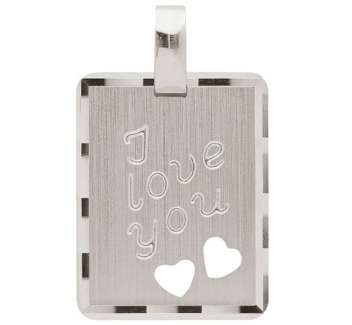 "925 Silber ""I love you"" Gravurplatte 18,1 x 14,1 mm"