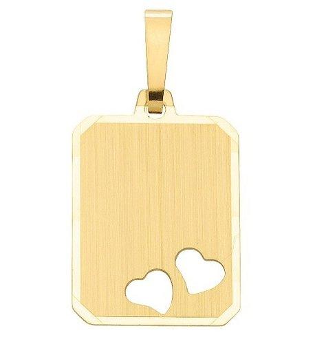 Goldene Gravurplatte mattiert mit 2 Herzen