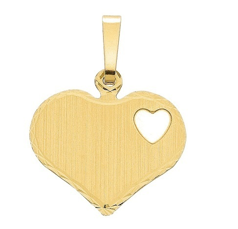 Herz Gravurplatte 16,4 x 14,2 mm mattiert in Weißgold
