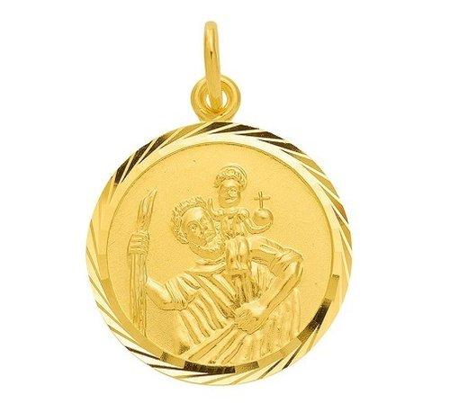 Christophorus Anhänger Durchmesser 16mm in Gold