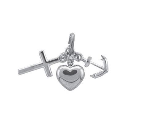 925 Silber Glaube Liebe Hoffnung Kettenanhänger rhodiniert