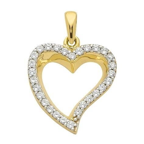 333 Gold Herz Kettenanhänger mit Zirkonia 1,5cm lang