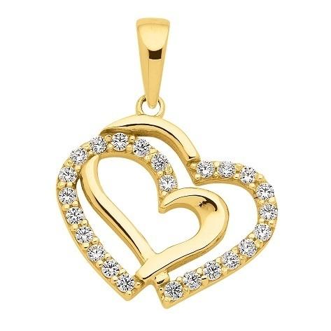 333 Gold Herz Kettenanhänger mit Zirkonia 12,3 mm
