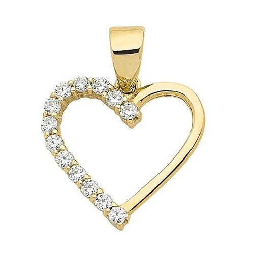 333 Gold Herz Kettenanhänger  mit Zirkonia 13,5 mm