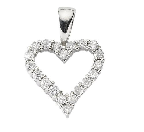 925 Silber Herz mit Zirkonia 14 x 13,7 mm
