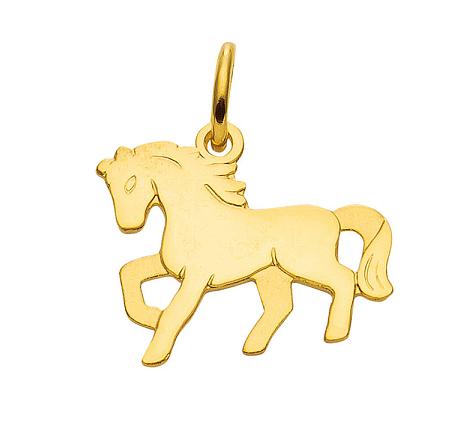 333 Gold Pferde Kettenanhänger