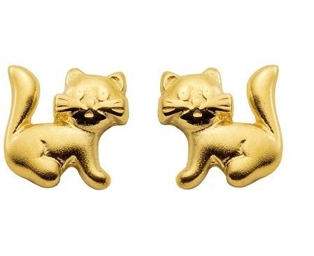 333 Gold Ohrstecker Katze sehr niedlich