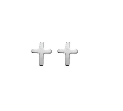 925 Silber Ohrstecker Kreuz mattiert