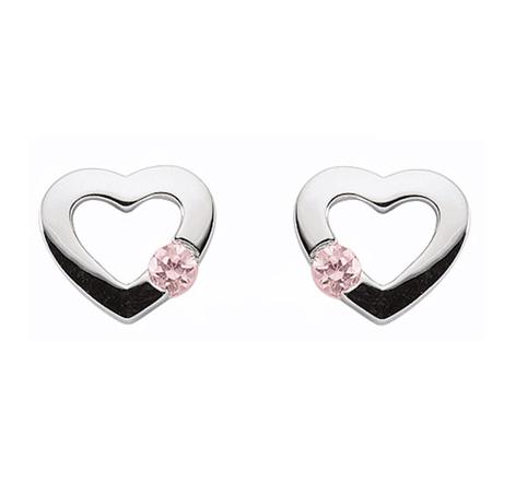 925 Silber Ohrstecker Herz mit pink farbigen Zirkonia