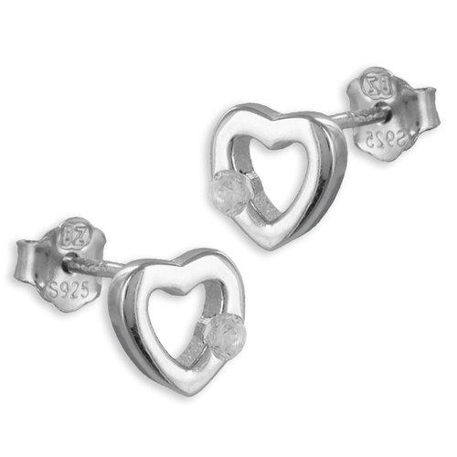 925 Silber Ohrstecker Herz mit Zirkonia