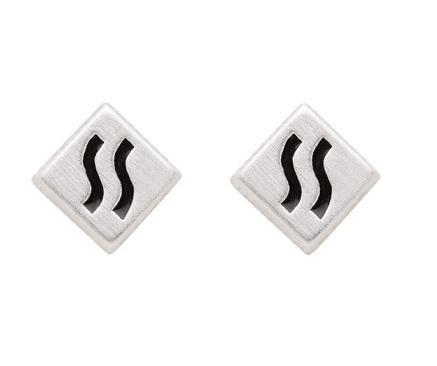 925 Silber Ohrstecker mit schwarzen Lack Muster