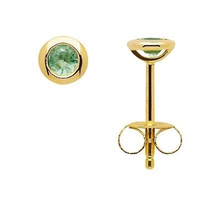 585 Gelbgold Ohrstecker mit Smaragd in Zargenfassung