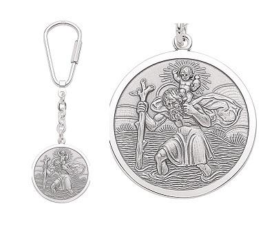 Schlüsselanhänger Christophorus in 925 Silber 27,5 mm